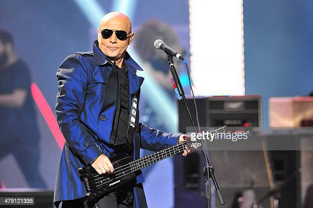 Bass player Zeta Bosio former member of the Argentinean band 'Soda Stereo' participates with the Chilean band La Ley during the Viña del Mar...