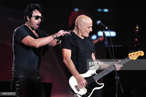 Bass player Zeta Bosio former member of the Argentinean band 'Soda Stereo' and Beto Cuevas from the Chilean band La Ley perform during the Viña del...