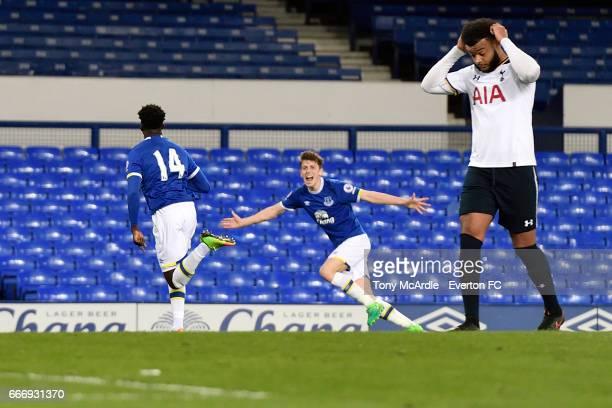 Bassala Sambou celebrates his goal for Everton with Joe Williams during the Premier League 2 match between Everton U23 and Tottenham Hotspur U23 at...