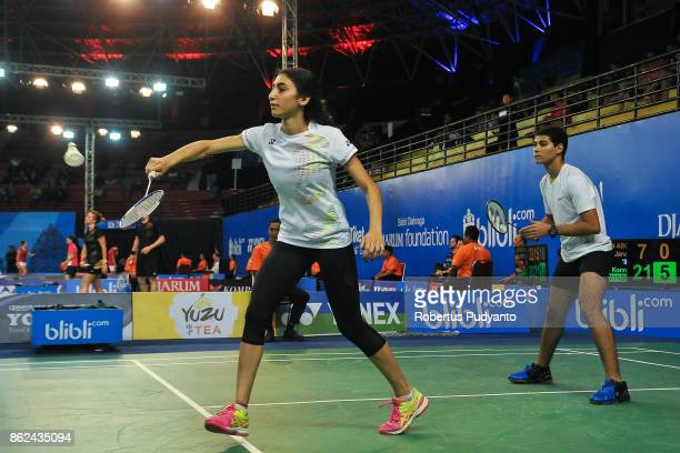 Bassam Tahseen Abdelrahim and Jana Ashraf of Egypt compete against Konrad Ploch and Aleksandra Goszczynska of Poland during Mixed Double...