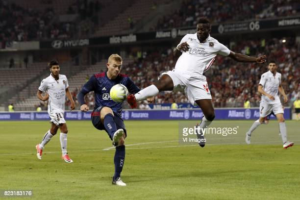 Bassem Srarfi of OCG Nice Matthijs de Ligt of Ajax Mario Balotelli of OCG Nice during the UEFA Champions League third round qualifying first leg...