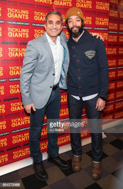 Bassem Youssef and Wyatt Cenac attend 'Tickling Giants' New York premiere at IFC Center on March 16 2017 in New York City