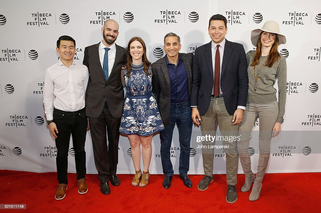 Bassem Youssef, Sara Taksler and cast and crew attend 'Tickling Giants' Premiere during the 2016 Tribeca Film Festival at Chelsea Bow Tie Cinemas on April 15, 2016 in New York City.