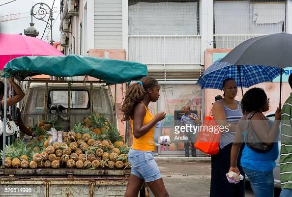 Basse-Terre Island, Guadeloupe (971), street scene ...