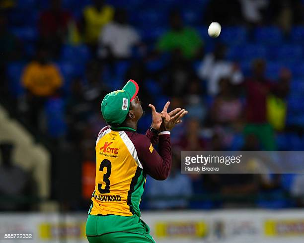 Basseterre Saint Kitts and Nevis 3 August 2016 Jason Mohammed of Guyana Amazon Warriors takes the catch to dismiss Chadwick Walton of Jamaica...