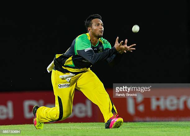 Basseterre Saint Kitts and Nevis 3 August 2016 Shakib Al Hasan of Jamaica Tallawahs takes the catch to dismiss Jason Mohammed of Guyana Amazon...