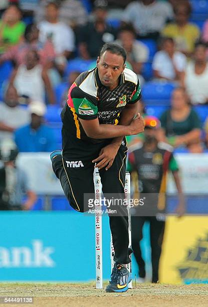 Basseterre Saint Kitts and Nevis 3 July 2016 Patriots bowler Samuel Badree during Match 6 of the Hero Caribbean Premier League between St Kitts Nevis...