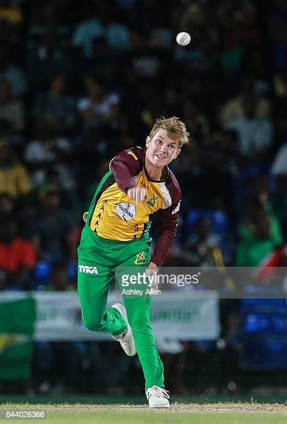 Basseterre Saint Kitts and Nevis 30 June 2016 Adam Zampa of Guyana Amazon Warriors bowls during Match 2 of the Hero Caribbean Premier League between...