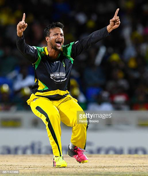 Basseterre Saint Kitts and Nevis 7 August 2016 Shakib Al Hasan of Jamaica Tallawahs successful appeal for lbw against Jason Mohammed of Guyana Amazon...