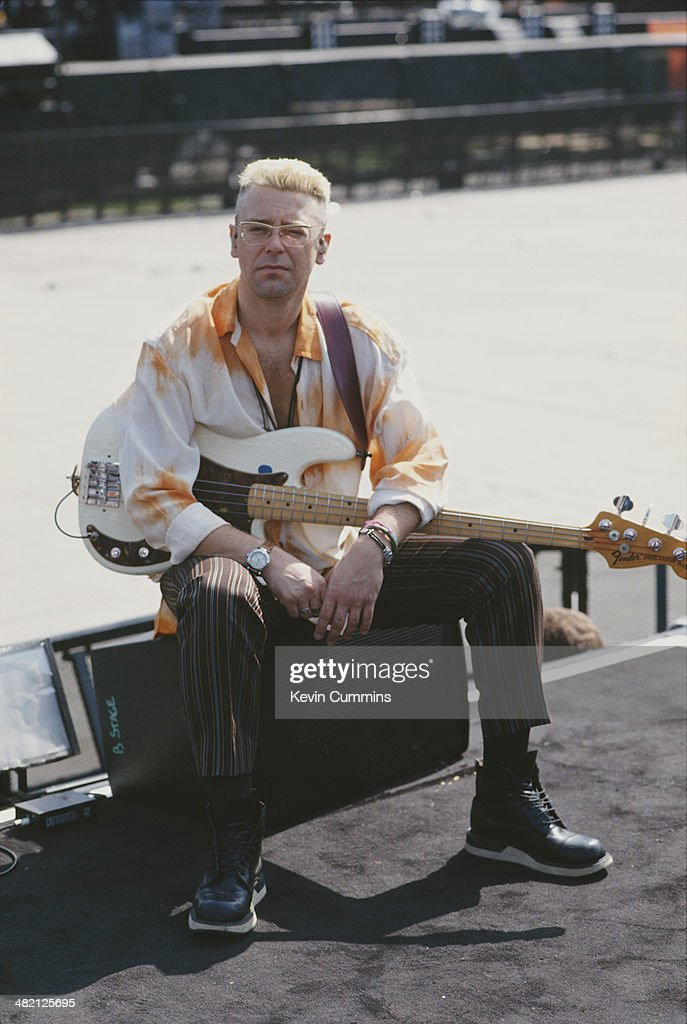 Bassist Adam Clayton of Irish rock group U2 during the band's 'Zoo TV' tour USA 1992