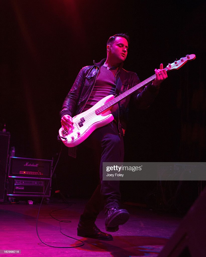 Bassist Alex Levine of The Gaslight Anthem performs in concert at Egyptian Room at Old National Centre on March 2, 2013 in Indianapolis, Indiana.