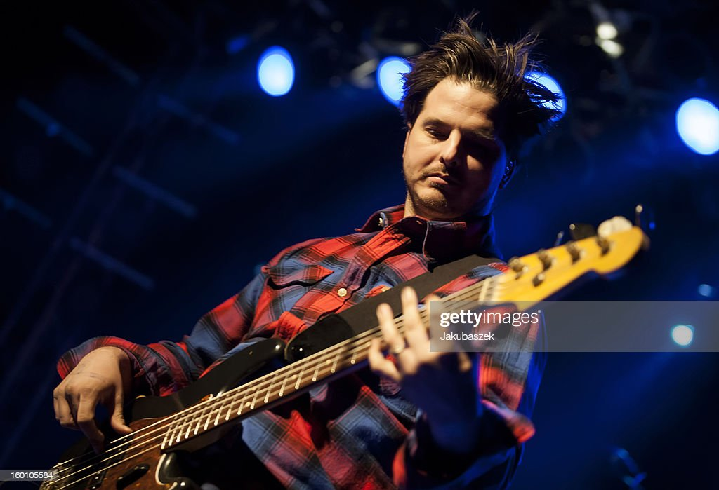 Bassist and singer Brad Corrigan of the US band Dispatch performs live during a concert at the Postbahnhof on January 26, 2013 in Berlin, Germany.