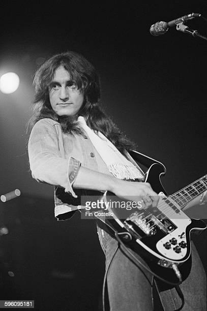 Bassist and singer Geddy Lee performing with Canadian progressive rock group Rush at the Civic Center in Springfield Massachusetts during the band's...