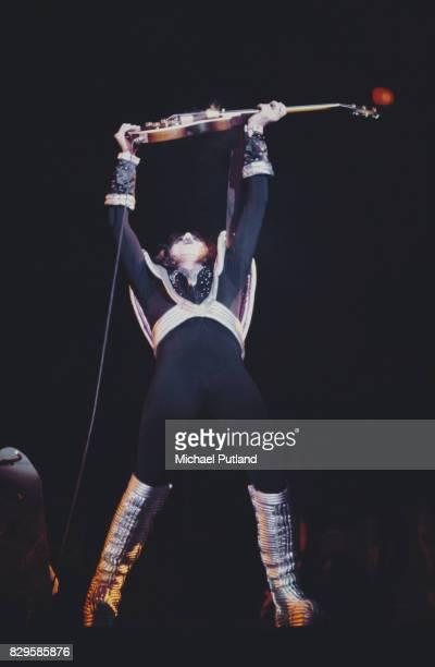 Bassist and singer Gene Simmons of American rock band Kiss circa 1977
