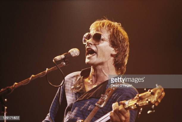 Bassist and singer Sting performing with The Police 1979