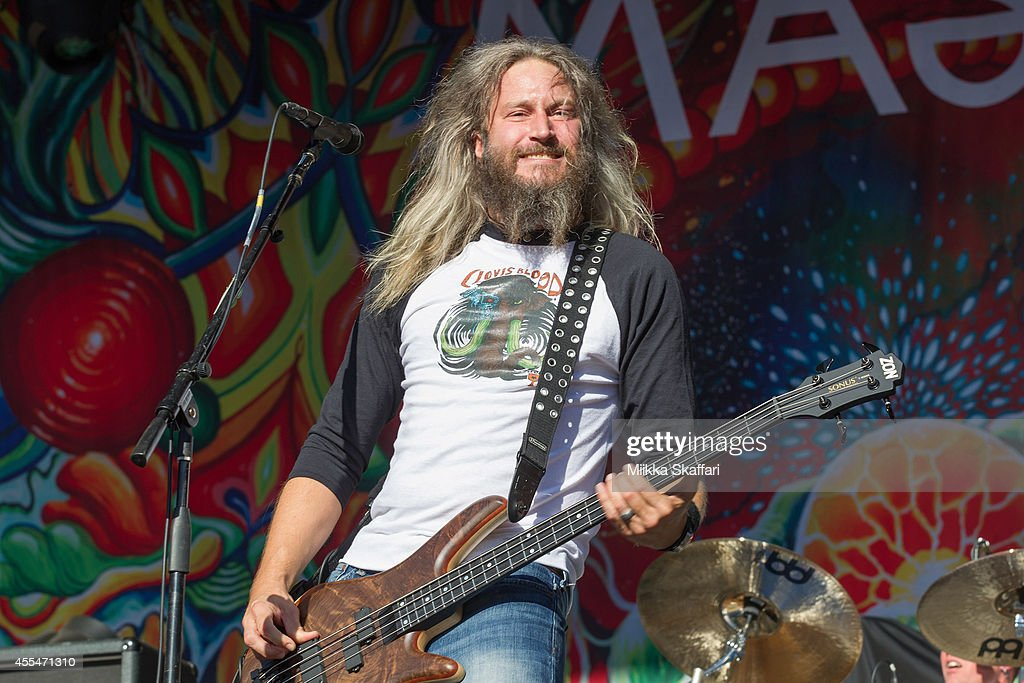 Bassist and vocalist Troy Sanders of Mastodon performs at Aftershock Festival at Discovery Park on September 14 2014 in Sacramento California