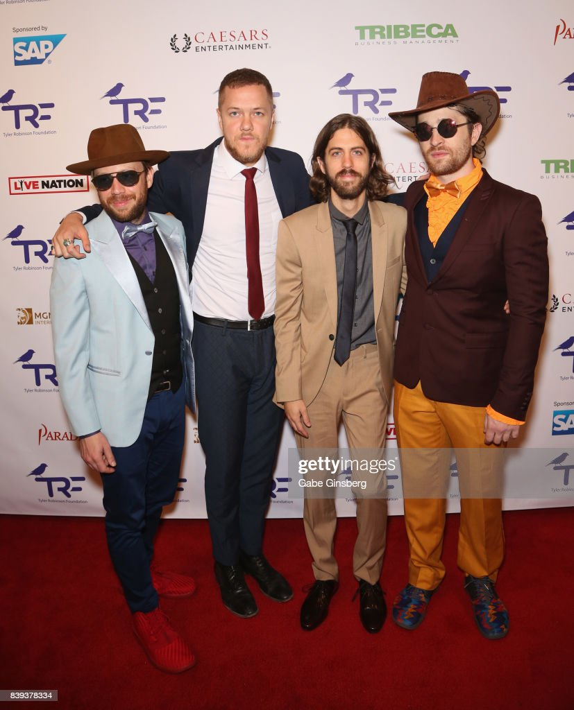 Bassist Ben McKee, singer/drummer Dan Reynolds, guitarist Wayne Sermon and drummer Daniel Platzman of Imagine Dragons attend the fourth annual Tyler Robinson Foundation gala benefiting families affected by pediatric cancer at Caesars Palace on August 25, 2017 in Las Vegas, Nevada.