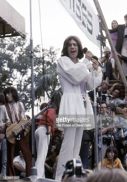 Bassist Bill Wyman and singer songwriter Mick Jagger of The Rolling Stones perform in Hyde Park on July 5 1969 in London England