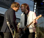 Bassist Bjoern Yttling and singer and guitarist Peter Moren of the Swedish IndieRock Band Peter Bjorn and John perform during a concert at the...