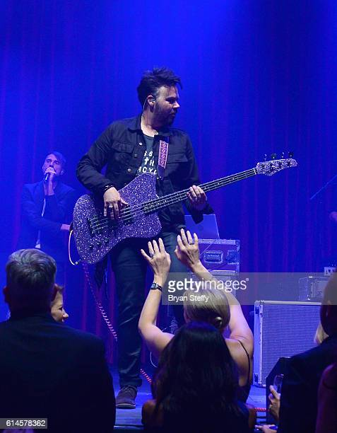 Bassist Branden Campbell of Neon Trees performs during the Scleroderma Research Foundations' Cool Comedy Hot Cuisine fundraiser at Brooklyn Bowl Las...