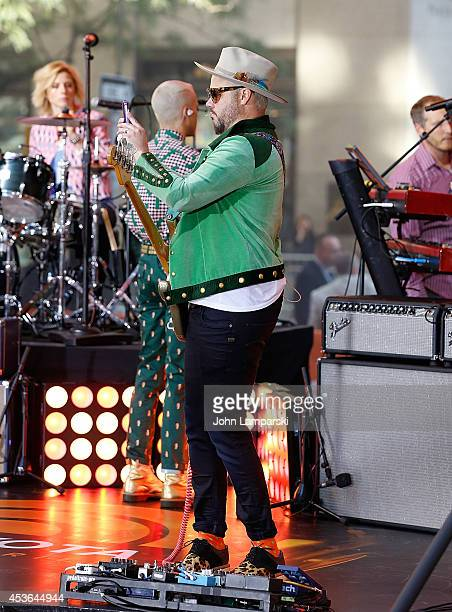 Bassist Branden Campbell of Neon Trees performs on NBC's 'Today' at Rockefeller Plaza on August 15 2014 in New York New York