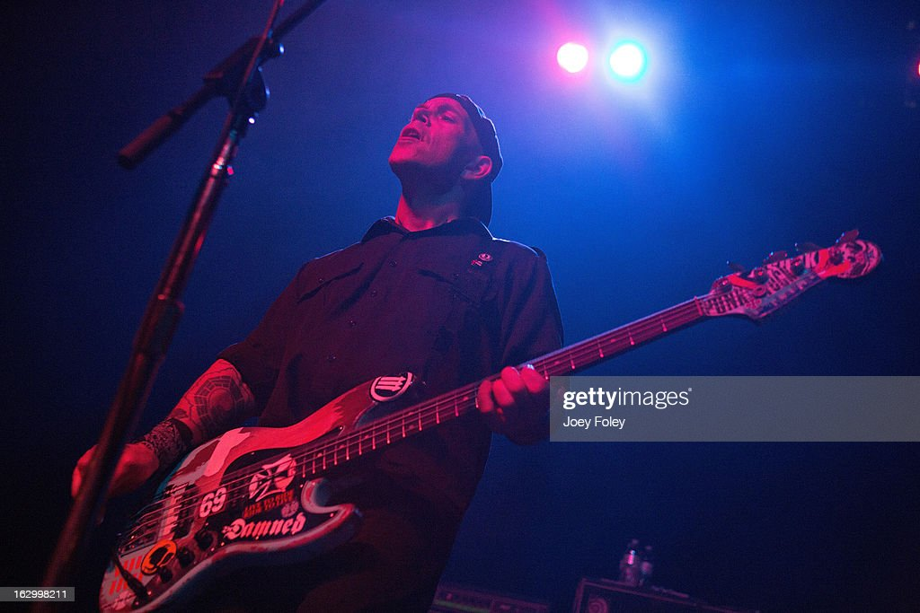 Bassist Bryan Kienlen of The Bouncing Souls performs in concert at Egyptian Room at Old National Centre on March 2, 2013 in Indianapolis, Indiana.