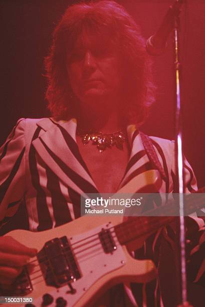 Bassist Chris Squire performing with English progressive rock group Yes circa 1975