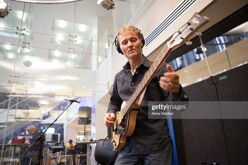 Bassist Chris Wood of Medeski, Martin & Wood performs during Medeski, Martin & Wood on SiriusXM's Jam_On and Real Jazz channels in the SiriusXM studios on September 7, 2012 in New York City.