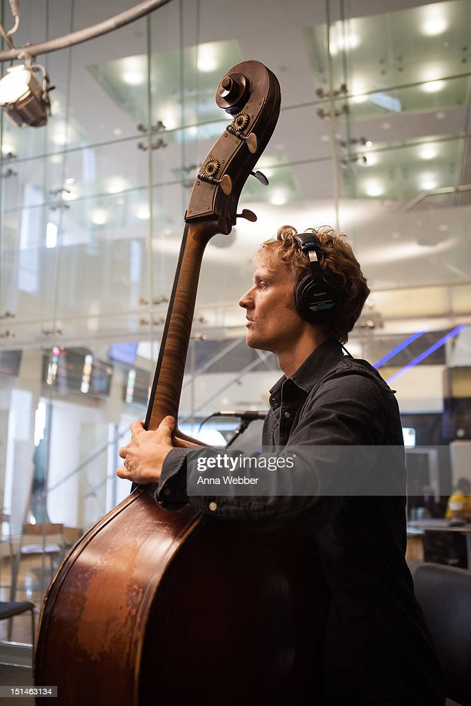 Bassist <a gi-track='captionPersonalityLinkClicked' href=/galleries/search?phrase=Chris+Wood+-+Guitarrista&family=editorial&specificpeople=4601134 ng-click='$event.stopPropagation()'>Chris Wood</a> of Medeski, Martin & Wood performs during Medeski, Martin & Wood on SiriusXM's Jam_On and Real Jazz channels in the SiriusXM studios on September 7, 2012 in New York City.