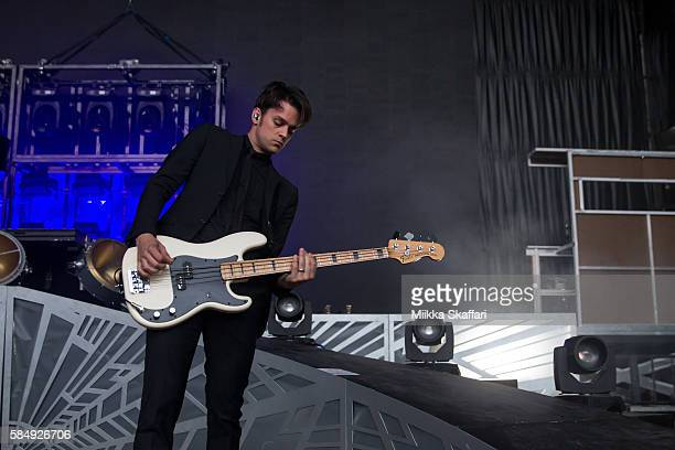Bassist Dallon Weekes performs with Panic at the Disco at Shoreline Amphitheatre on July 31 2016 in Mountain View California