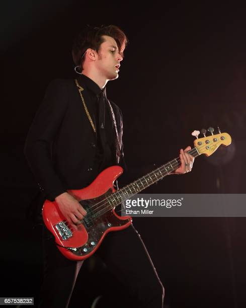 Bassist Dallon Weekes performs with Panic at the Disco at the Mandalay Bay Events Center on March 17 2017 in Las Vegas Nevada