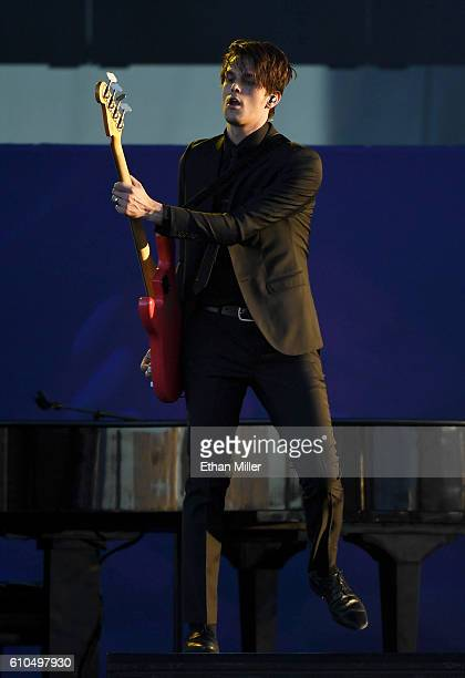 Bassist Dallon Weekes performs with Panic at the Disco during the 2016 Daytime Village at the iHeartRadio Music Festival at the Las Vegas Village on...