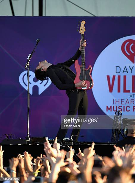 Bassist Dallon Weekes performs with Panic at the Disco onstage during the 2016 Daytime Village at the iHeartRadio Music Festival at the Las Vegas...