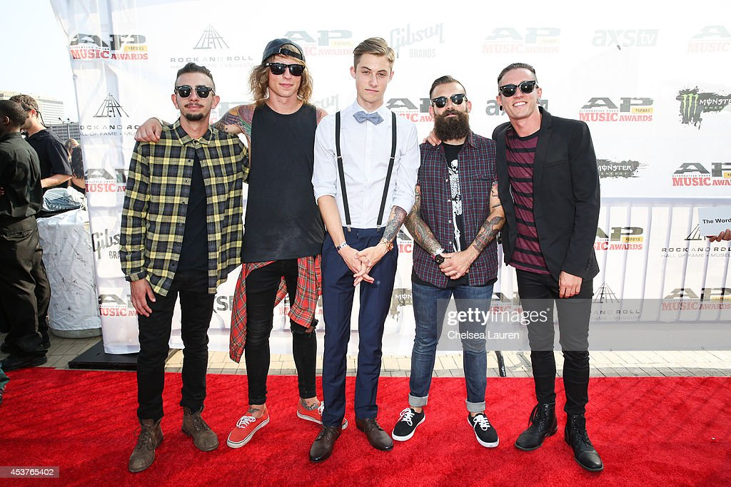 Bassist Daniel Shapiro, guitarist Zack Hansen, drummer Luke Holland, guitarist Tony Pizzuti and vocalist Tyler 'Telle' Smith of The Word Alive attend the 2014 Gibson Brands AP Music Awards at the Rock and Roll Hall of Fame and Museum on July 21, 2014 in Cleveland, Ohio.