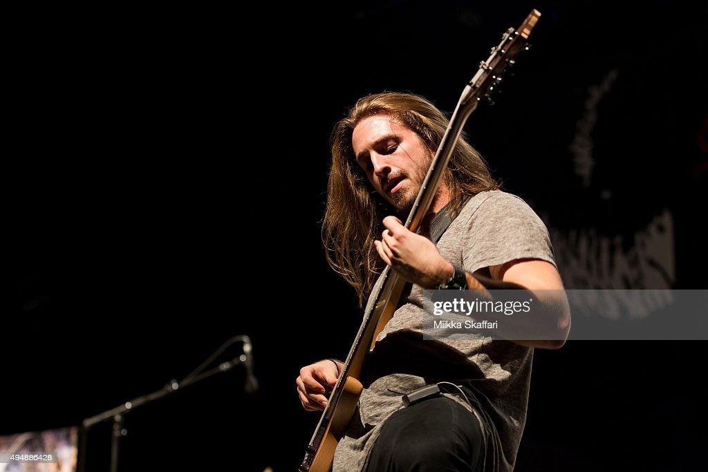 Bassist Danny Hauser of Veil of Maya performs at City National Civic on October 29, 2015 in San Jose, California.