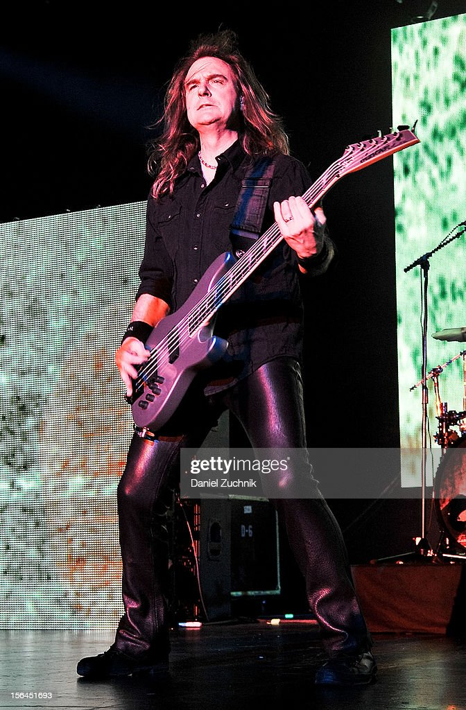Bassist David Ellefson of Megadeth performs at Best Buy Theater on November 14, 2012 in New York City.