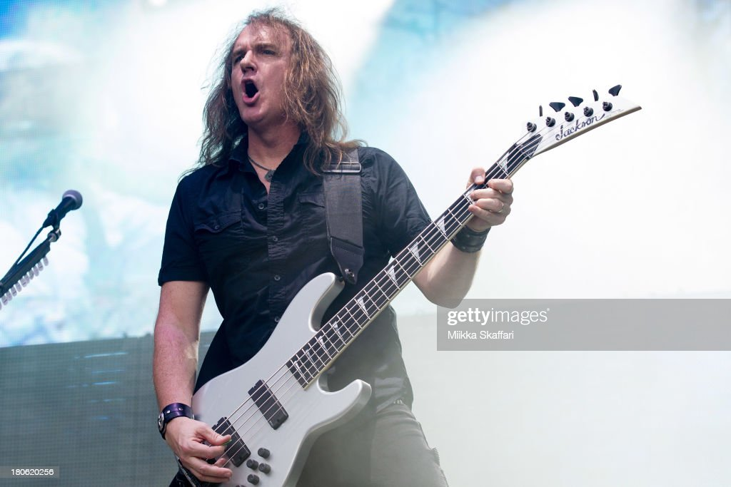 Bassist David Ellefson of Megadeth performs in Monster Energy's Aftershock Festival at Discovery Park on September 14, 2013 in Sacramento, California.