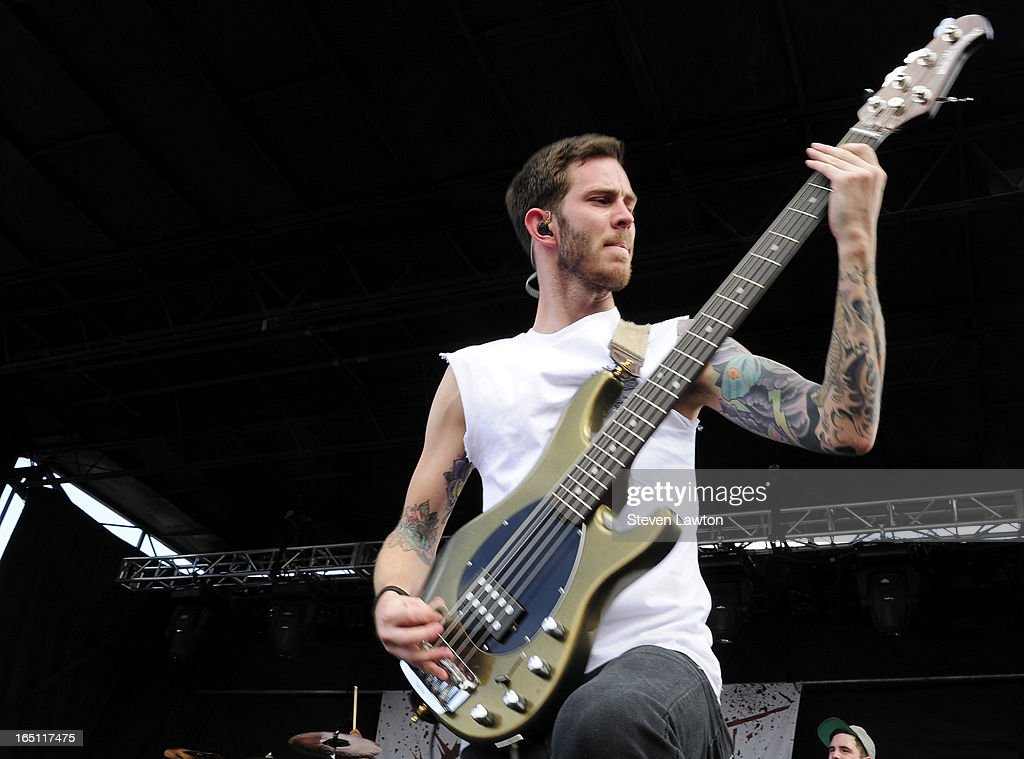 Bassist David Flinn of the band Chelsea Grin performs during the 18th annual Extreme Thing Sports & Music Festival on March 30, 2013 in Las Vegas, Nevada.