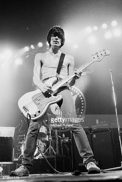Bassist Dee Dee Ramone performing with American punk rock group The Ramones USA circa 1978