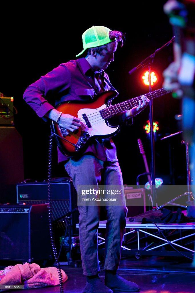 Bassist Derek Bostelman of Hindu Pirates performs onstage at the 'Hurley Rocks You Back To School' concert series on September 29, 2012 in Santa Ana, California.