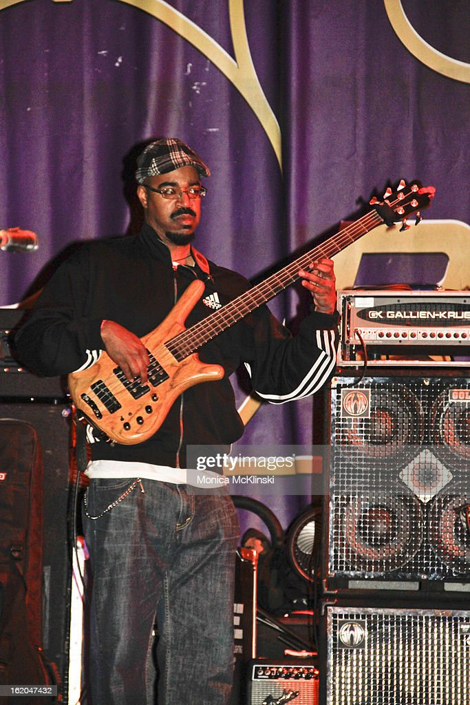 Bassist Dion Pierre performs with Dwayne Dopsie & The Zydeco Hellraisers during the Verizon Super Bowl Boulevard at Woldenberg Park on February 1, 2013 in New Orleans, Louisiana.