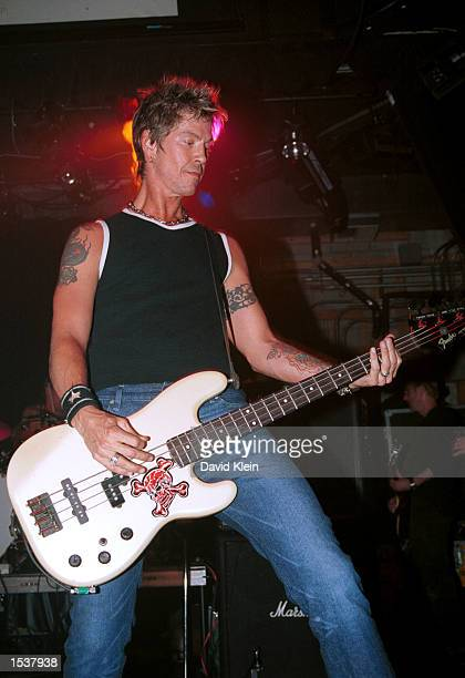 Bassist Duff McKagan performs during the Randy Castillo All Star Benefit at The Key Club April 29 2002 in West Hollywood CA