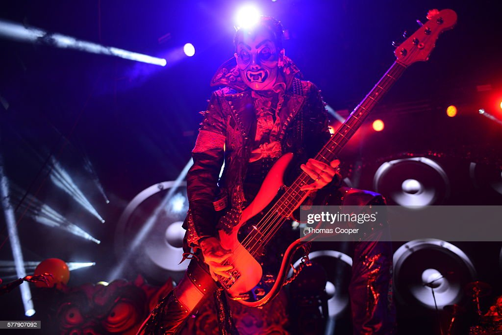 Bassist for Rob Zombie Piggy D performs before a sold out crowd at Fiddler's Green Amphitheatre on July 19 2016 in Englewood Colorado