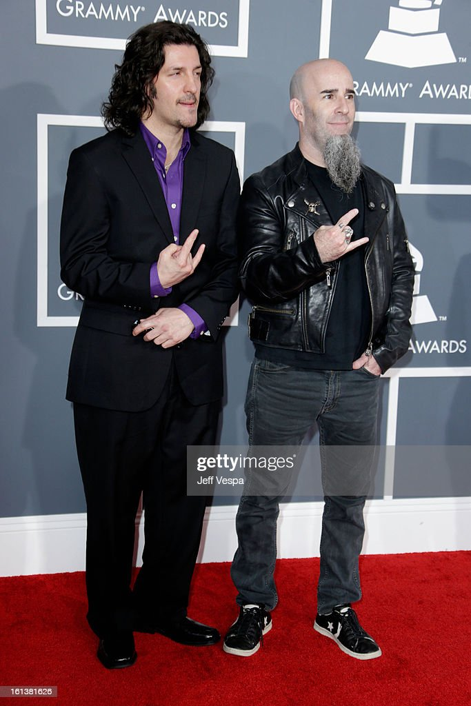 Bassist Frank Bello (L) and guitarist Scott Ian of Anthrax attend the 55th Annual GRAMMY Awards at STAPLES Center on February 10, 2013 in Los Angeles, California.