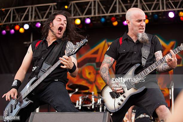 Bassist Frank Bello and Guitarist Scott Ian of Anthrax perform live during the 2012 Rock On The Range festival at Crew Stadium on May 20 2012 in...