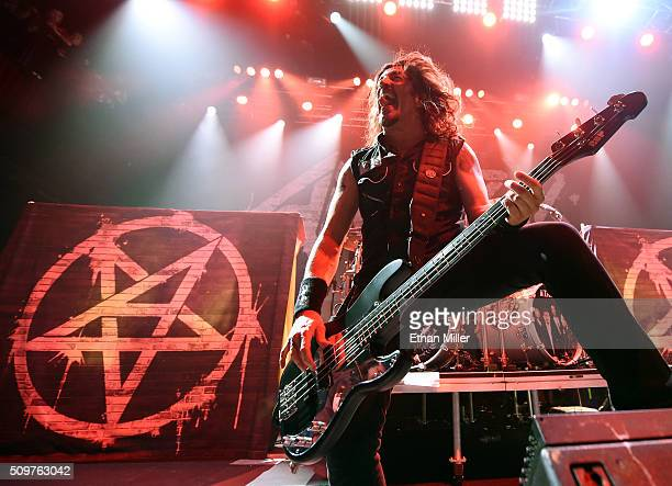 Bassist Frank Bello of Anthrax performs at Brooklyn Bowl Las Vegas at The LINQ Promenade on February 11 2016 in Las Vegas Nevada