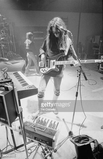 Bassist Geddy Lee of Canadian progressive rock band Rush at a studio in Shepperton Surrey 2nd December 1978 He plays a small Moog synthesizer with...