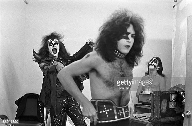 Gene Simmons of Kiss practicing his moves while Paul Stanley gets ready before performing at Alex Cooley's Electric Ballroom
