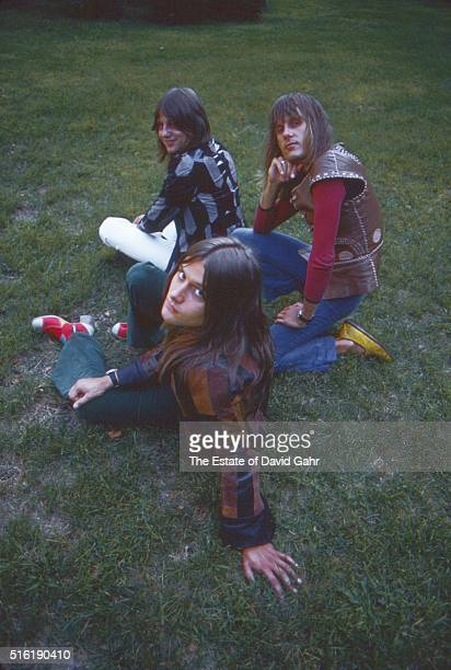 Bassist Greg Lake keyboardist Keith Emersonand drummer Carl Palmer of progressive rock group Emerson Lake and Palmer pose for a portrait in August...