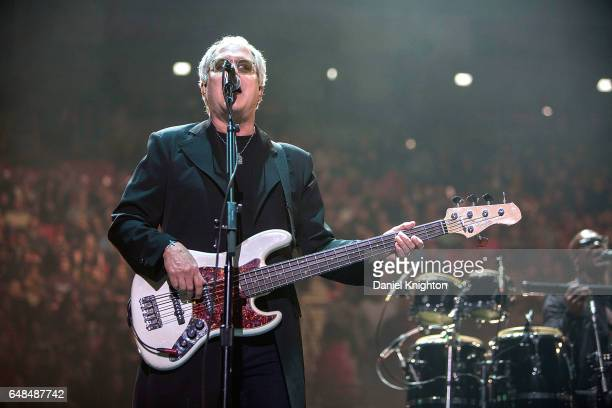 Bassist Hugh McDonald of Bon Jovi performs on stage during the 'This House Is Not For Sale' Tour at Viejas Arena on March 5 2017 in San Diego...